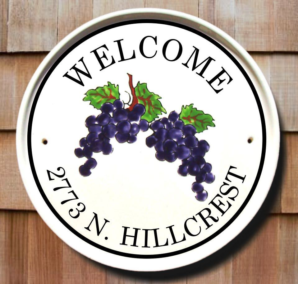 Hanging Grapes Welcome Sign