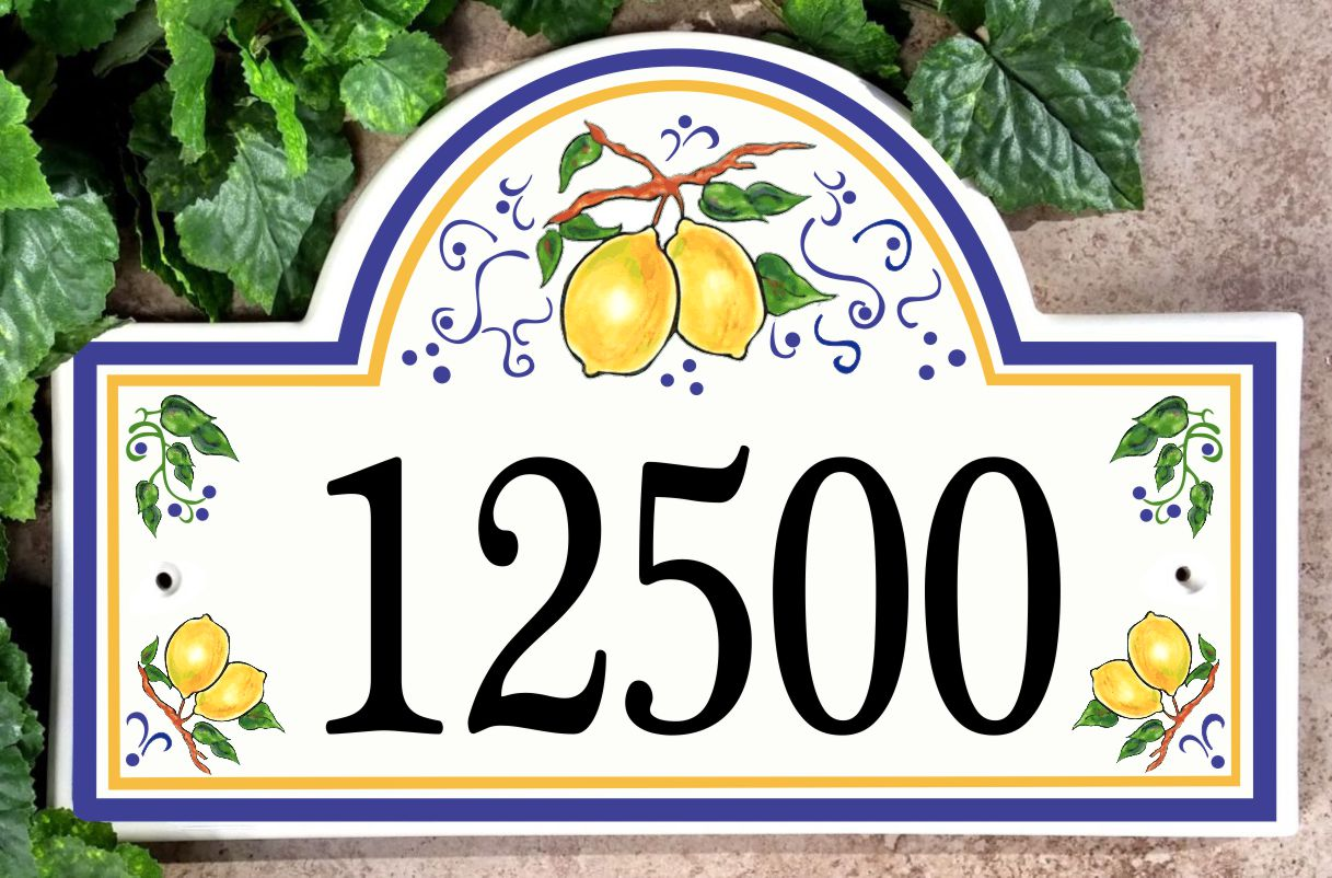 Lemons from Umbria House Number Plaque