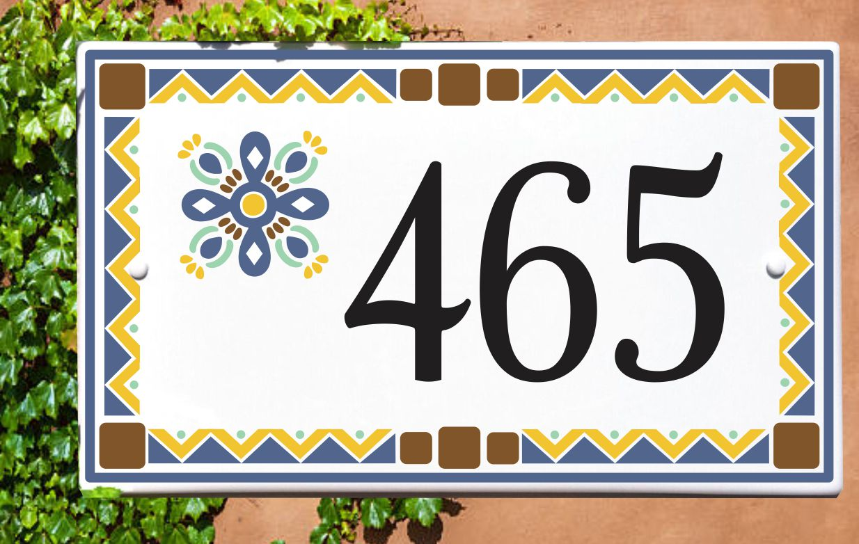 Talavera House Number Tile Porcelain