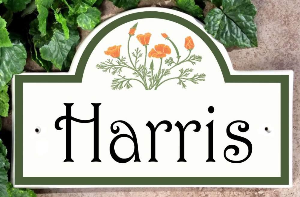 California Poppies Arch Address Plaque