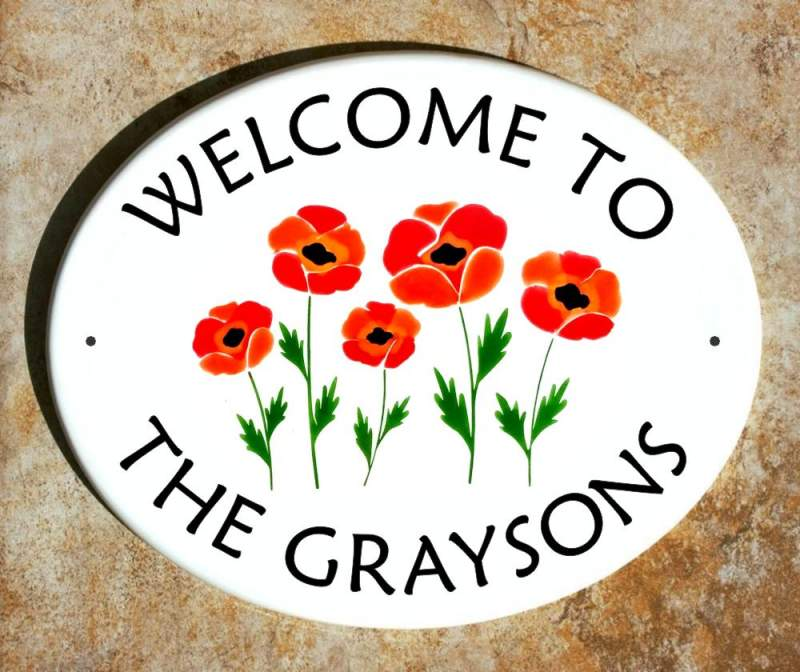 Poppies Welcome Plaque