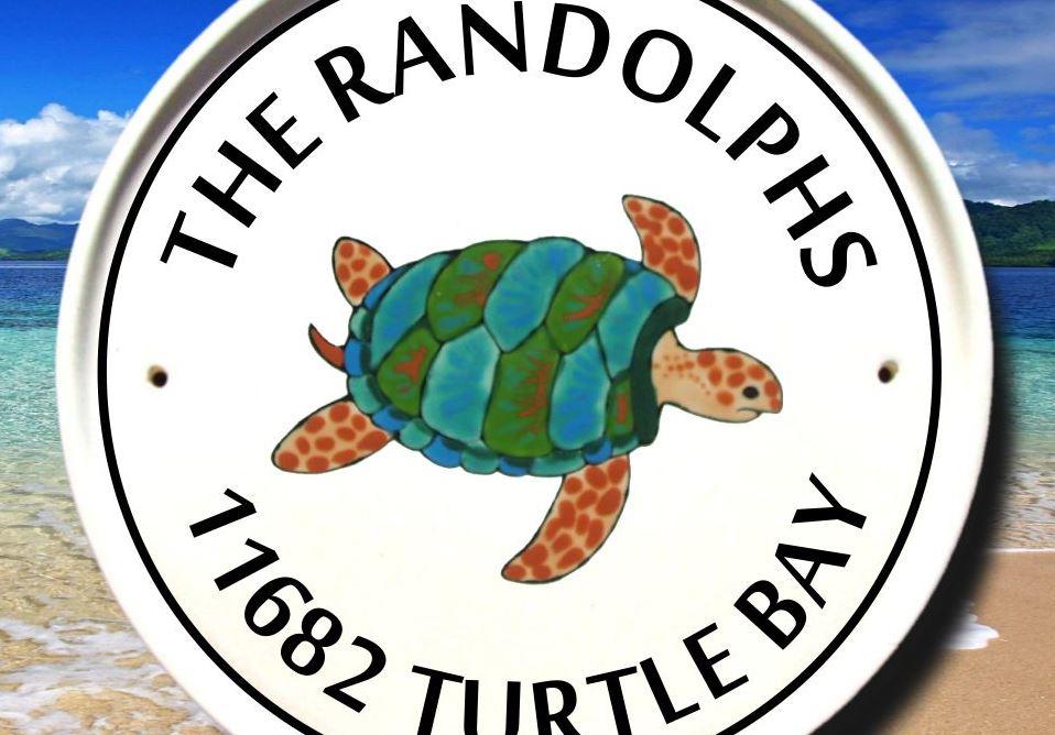 Sea Turtle Round Address Sign
