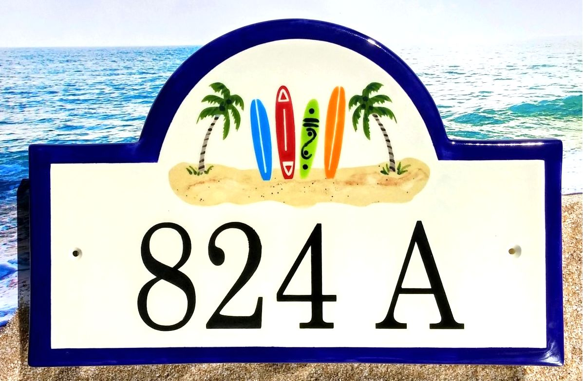 Surfboard Address Sign