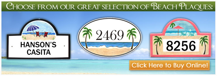 Beach Address Plaques and house number Signs