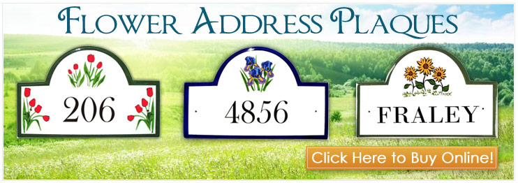 Flower Address Plaques and House Number Signs