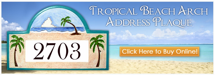 Tropical Address Plaques and House Number Signs